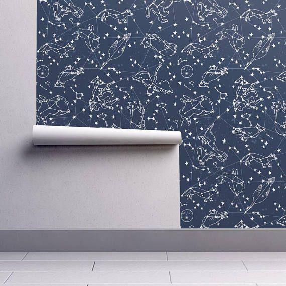 Nursery Wallpaper Constellations Night Sky Animal Star Etsy Nursery Wallpaper Spoonflower Wallpaper Self Adhesive Wallpaper
