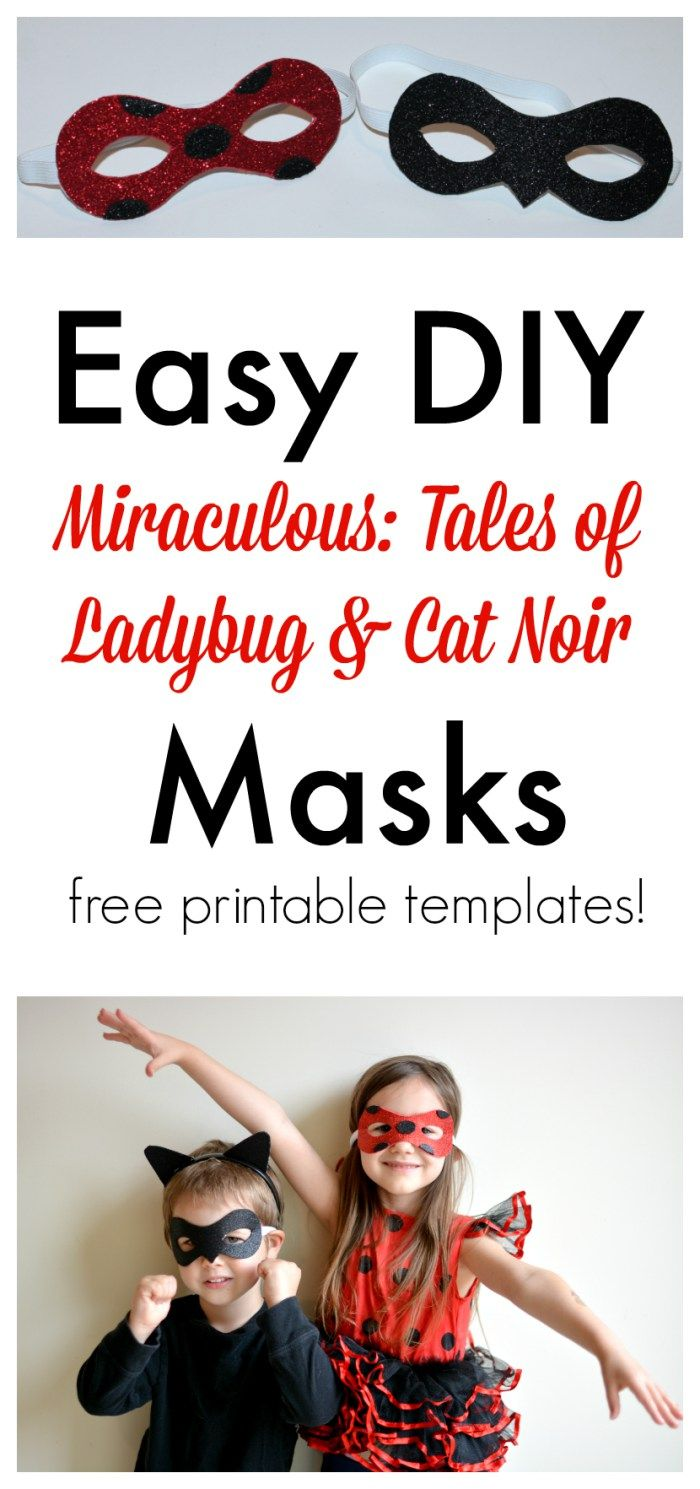 Awesome free printable masks for Ladybug & Cat Noir from the DVD Miraculous: Tales of Ladybug & Cat Noir. #Kids #Crafting #DIY