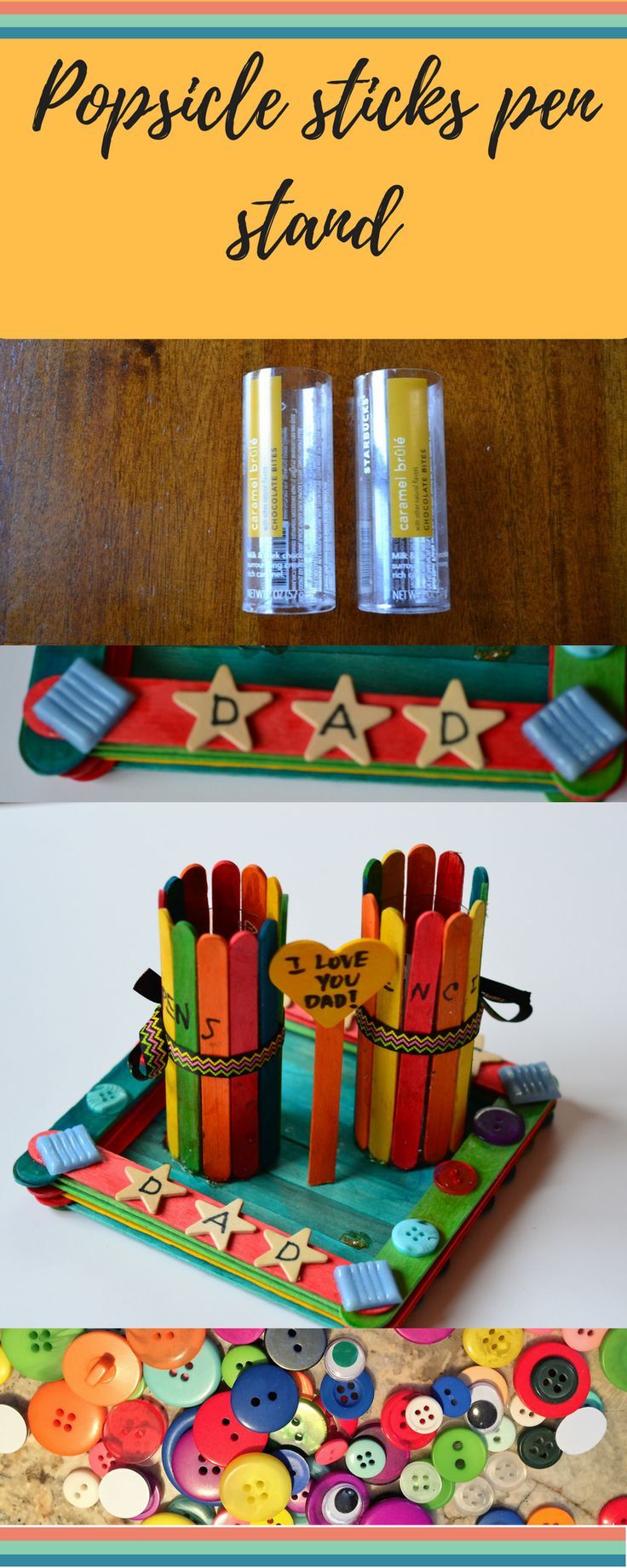 Pen Stand using Popsicle sticks and Starbucks chocolate tins! kids crafts, crafts for kids, crafts, DIY, popsicle stick craft