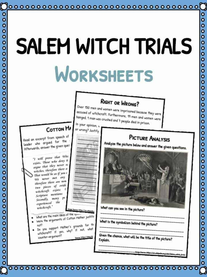 Salem Witch Trials Facts Worksheets For Kids Includes Lesson Plans Study Material Resources On The Salem Witch Trials Facts Salem Witch Salem Witch Trials