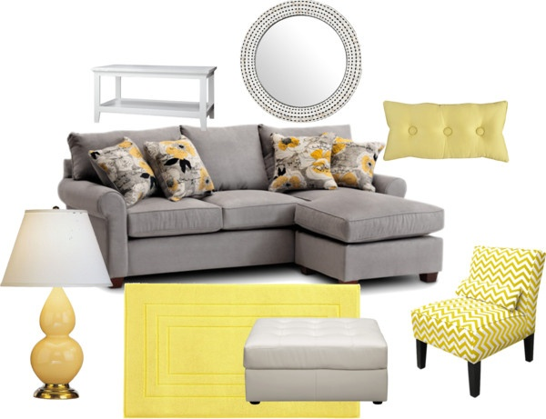 """""""Contemporary Gray & Yellow Living Room"""" by highlyfavored on Polyvore"""