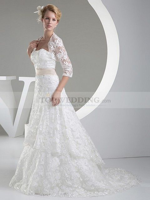 Strapless A Line Tiered Lace Wedding Gown with Matching Bolero