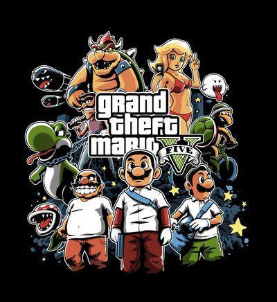 Grand Theft Mario Art Print