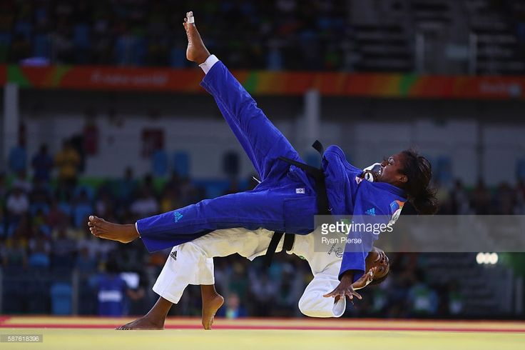 Anicka van Emden of the Netherlands and Clarisse Agbegnenou of France compete during the Women's -63kg Quarterfinal bout on Day 4 of the Rio 2016 Olympic Games at the Carioca Arena 2 on August 9, 2016 in Rio de Janeiro, Brazil.