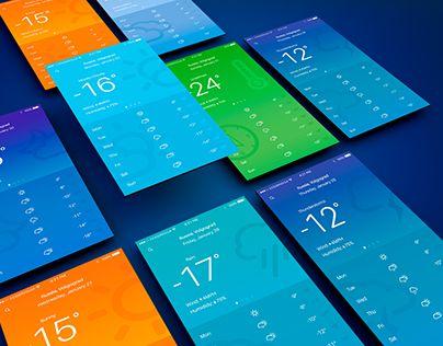 Weather App for iOS 9.2 (Mobile UI Design)