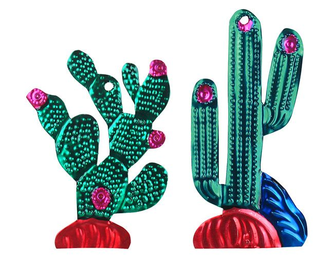 Small Painted Tin Cactus Ornaments from Mexico (1 dozen). 6 Saguaro cactus ornaments and 6 Prickly Pear cactus ornaments.