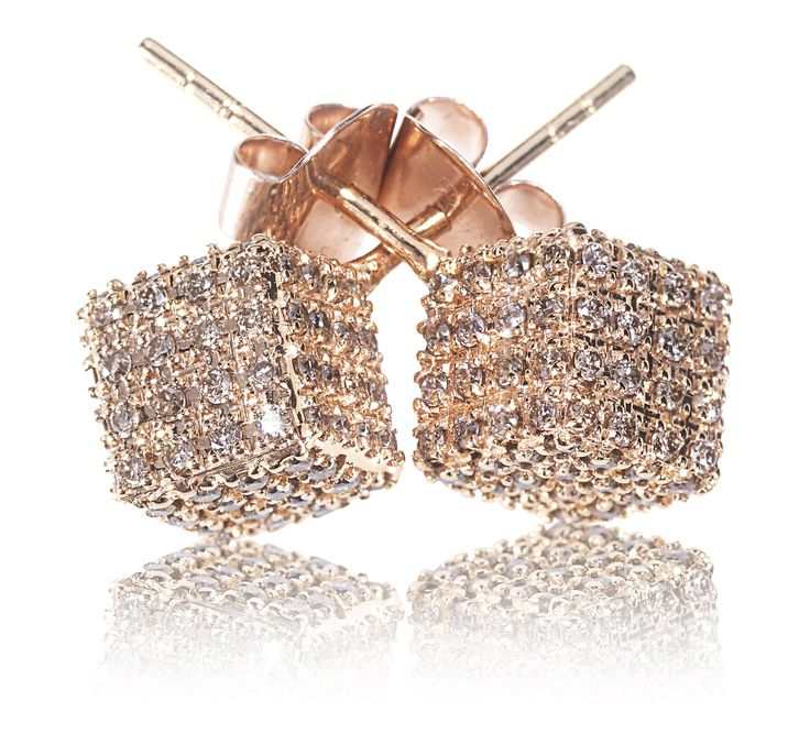 Rose Gold Champagne Diamonds Pendientes color champan, cubitos