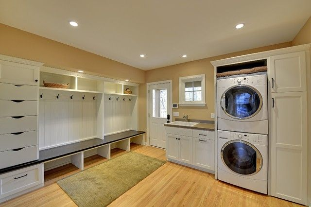 Mesmerizing Laundry Room Organization Ideas in Small Room: Stunning Traditional Laundry Room Organization Ideas With White Shelving Furniture And Wooden Flooring Decoration Ideas