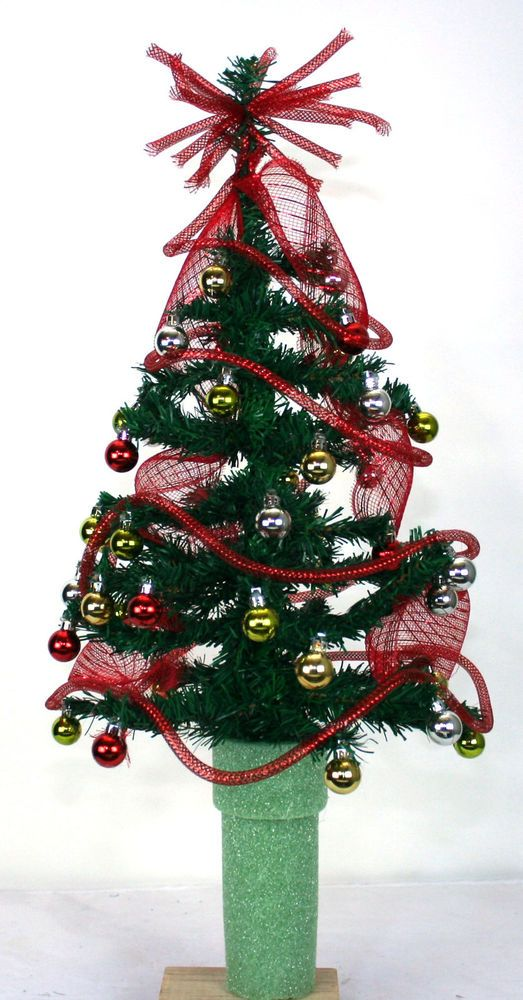 Mini Christmas Green Tinsel Tree For 3 Inch Cemetery Vase