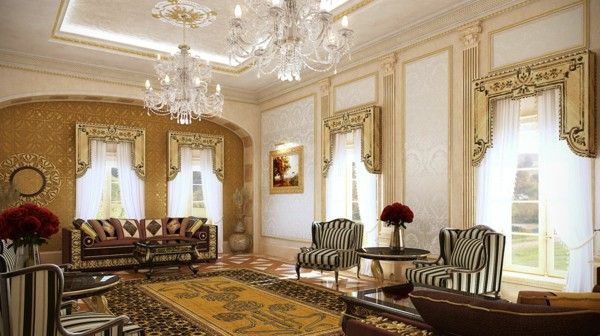 Luxurious Villa Qatar gorgeous marble columns, gold chandelier sofas