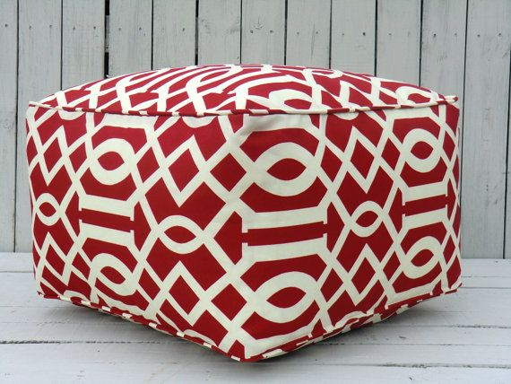 Red Square Pouf Ottoman In 20x20x14 , Outdoor Fabric In Imperial Trellis  Print By Anitascasa On