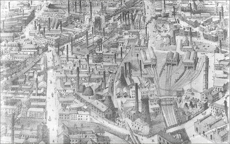 https://flic.kr/p/8hhkXP | Leeds: Southern Panorama 2. 1880s. | Birds-eye view of industrial Leeds.