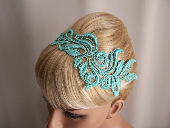 Delphinium lace headband mint green by StitchFromTheHeart on Etsy, $26.00