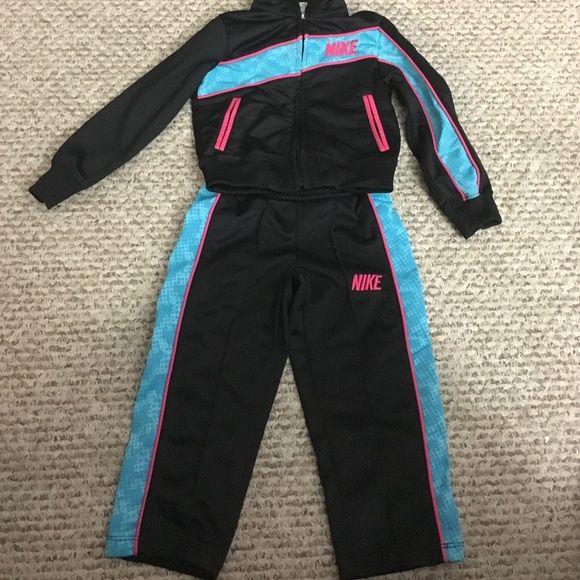 Adorable (girls) Nike jogging suit Nike  black, hot pink, turquoise jogging suit  2T jacket and pant set. Lightly worn. Make an offer!! Nike Other