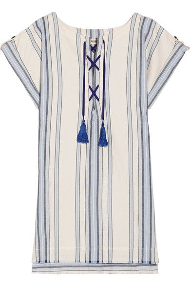 LemLem - Halima Striped Cotton And Linen-blend Mini Dress - Sky blue - x small