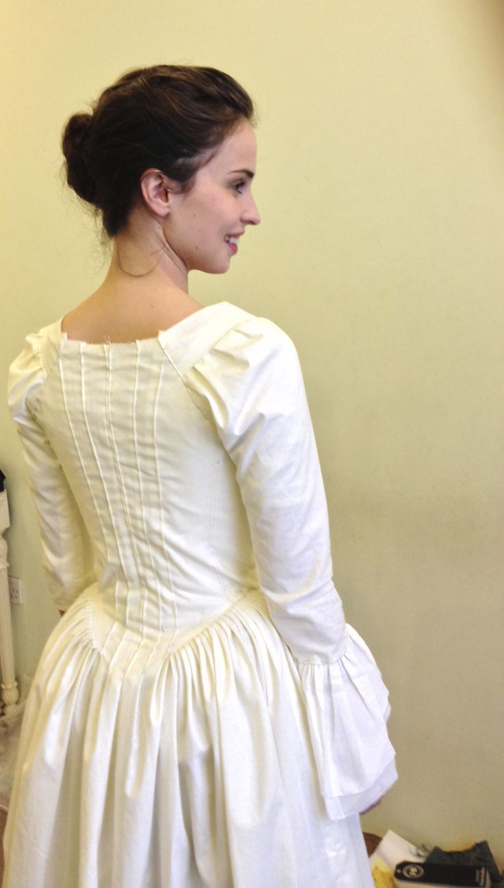 Elizabeth (Heida Reed) costume fitting close-up for toiles of day dress. Courtesy of Marianne Agertoft/Mammoth Screen. | Poldark, as seen on Masterpiece PBS