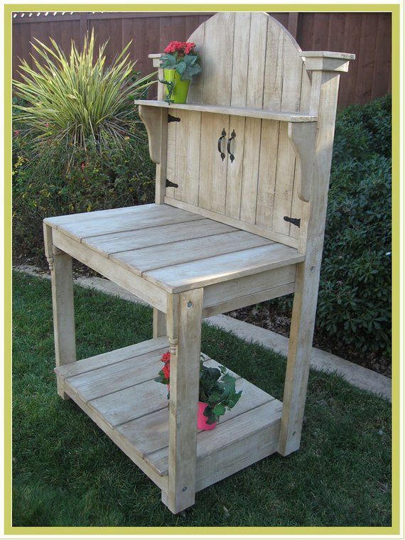 outdoor Wooden Standing Garden Potting Table Bench flower boxes rectangle