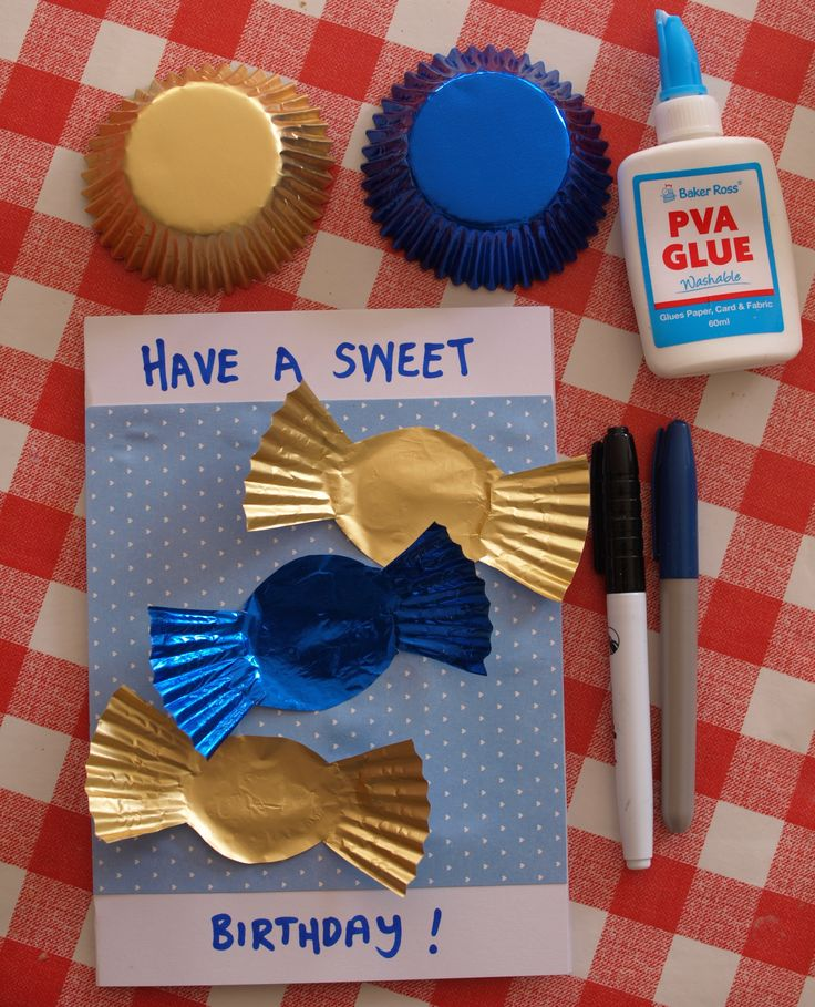 Cupcake Liner Cards - homemade kids card idea