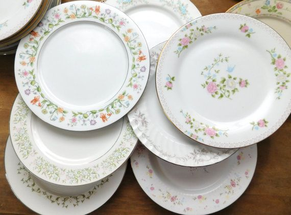 mismatched china dinner plates floral mid by littledixievintage - China Dinner Plates