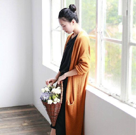 orange/gray/blue female sweater retro autumn cardigan by ideacloth