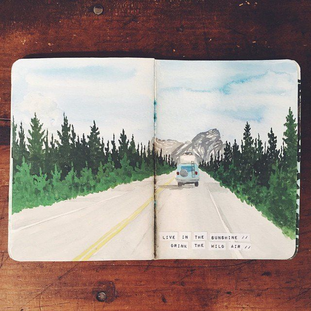 Ideas and techniques for an art journal, sketchbook, or a scrapbook. Inspiration for keeping a travel journal