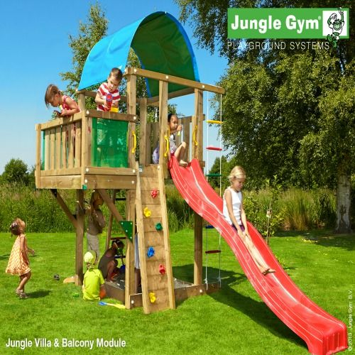 Jungle Gym Villa & Balcony Module  Large Wooden Climbing Frame for Kids by Jungle Gym : Wooden Climbing Frames for children