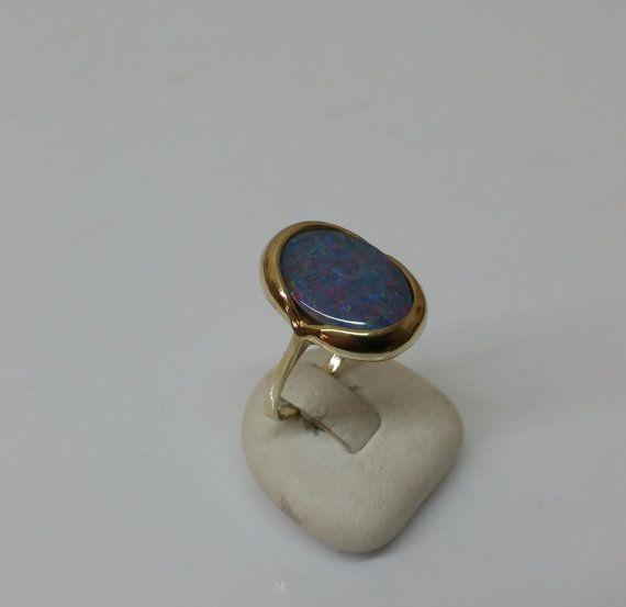 Ring Gold 333 mit Opal schlicht und elegant GR150 von Schmuckbaron