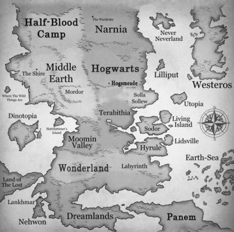 12 best mapas images on pinterest maps books and lord of the rings i would live on the boundaries of middle earth narnia hogwarts and camp half blood then own a home in wonderland and wonder where the heck the land of gumiabroncs Gallery