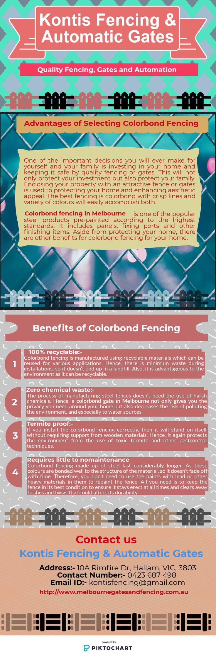 If you are looking for quality colorbond fencing in Melbourne, then Kontis Fencing is the best choice for you. You will get high-quality solutions for all applications. Your new fence will also come fully guaranteed for peace of mind.   Contact at 0423 678 498 or visit our website http://www.melbournegatesandfencing.com.au and select from a big range of styles to enhance your property.