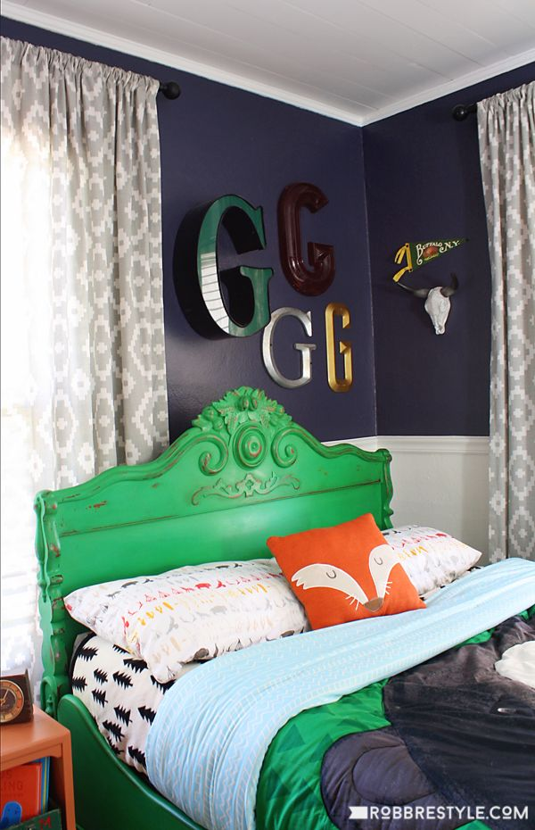 Vintage Camping Boy's Bedroom Retreat. Love the green headboard
