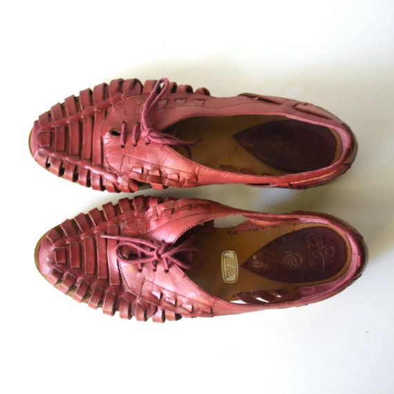 Vintage Lace Up Huarache Flats / Maroon Leather by miskabelle Size 8.5  $30