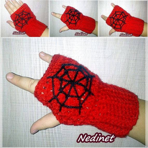 Spiderman Fingerless Gloves Hand Warmer FREE by NedinetCreations