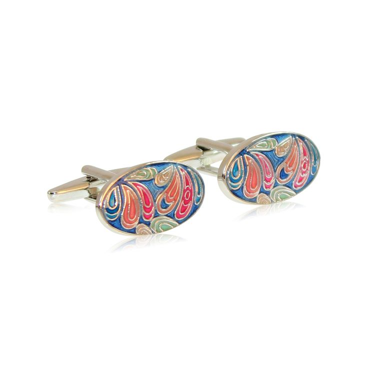 The Pretty Paisley cufflinks derive the richness of their pattern and colours from the much celebrated designs on persian rugs. Intricately hand enamelled to perfection, they will take your breath away.   Our cufflinks are made from solid brass with rhodium plating. The rhodium ensures a tarnish-free appearance unlike similar cufflinks made from nickel or sterling silver. http://www.byariane.com.au/Cufflinks-Pretty-Paisley-Blue