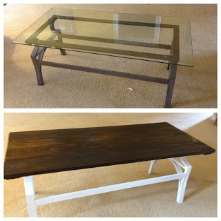 Coffee Table Redo. Awesome for outdated glass tables!!