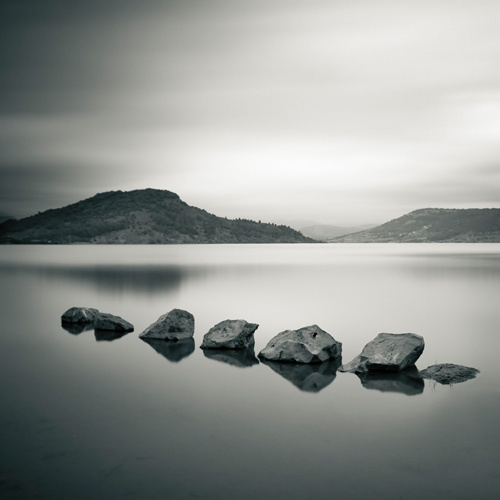 Little rocks in the lake  Lac du salagou - France - 17 Juin 2007