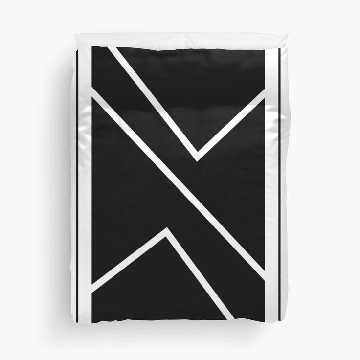 """""""Irregular Chevron - Black/White"""" Duvet Cover, designed by Sheldon Stewart"""