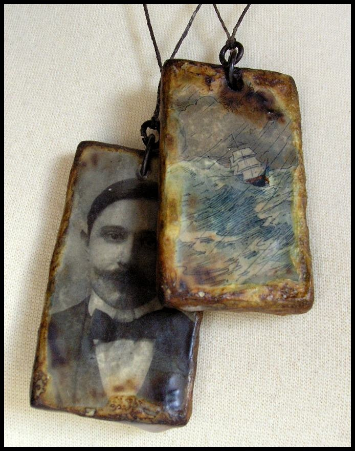 Boat Illustration Pendant, from Childrens Book, Encaustic Pendant,  via Etsy. Note that this is images on wood that have been encased in wax...nice effect