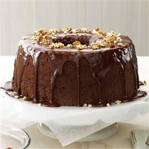 Chocolate Chiffon Cake Recipe- Recipes If you want to offer family and friends a dessert that really stands out from the rest, this is the cake to make. Beautiful high layers of rich sponge cake are drizzled with a succulent chocolate glaze. —Erma Fox, Memphis, Missouri