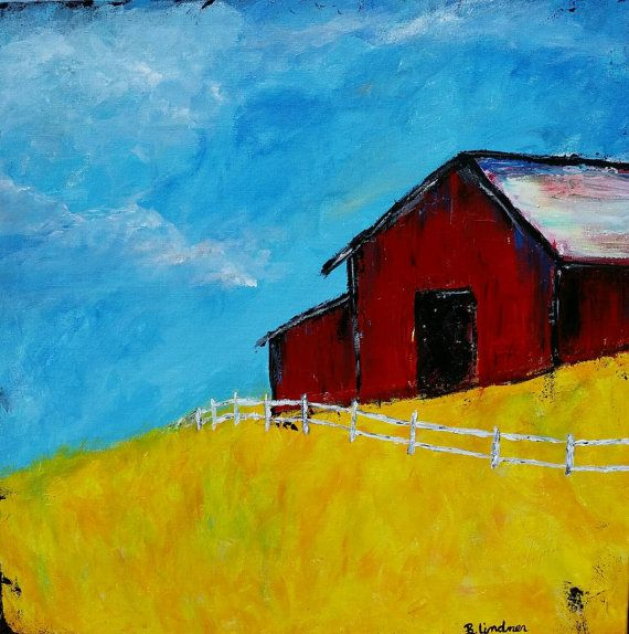 24 X 24 Original Acrylic Painting Lonely Barn by 1sassycreation