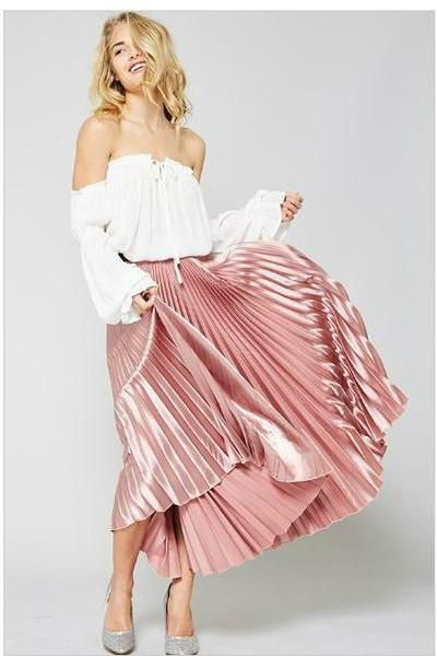 FEATURES: - All over accordion pleats - Elasticized waist - Lightweight shimmering satin fabric - Drapes beautifully - Made in USA View our Pretty In Pink Collection View our Spring Collection