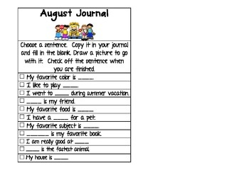 Writing prompts for August. 1st grade