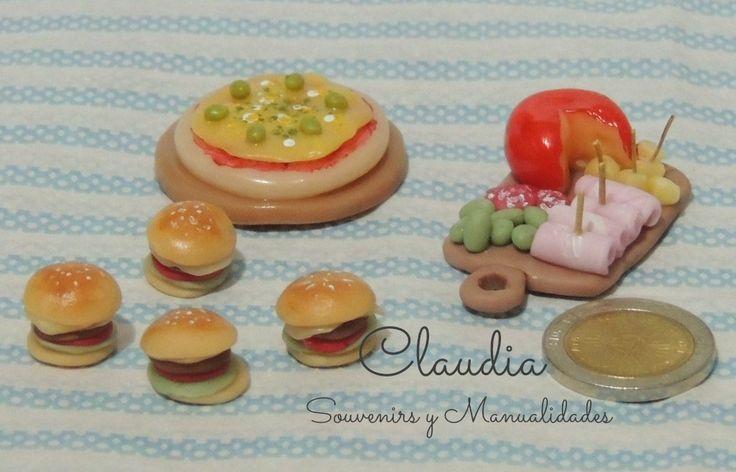 Hamburguesas, pizza y una picadita bien argentina ( Miniaturas) .-
