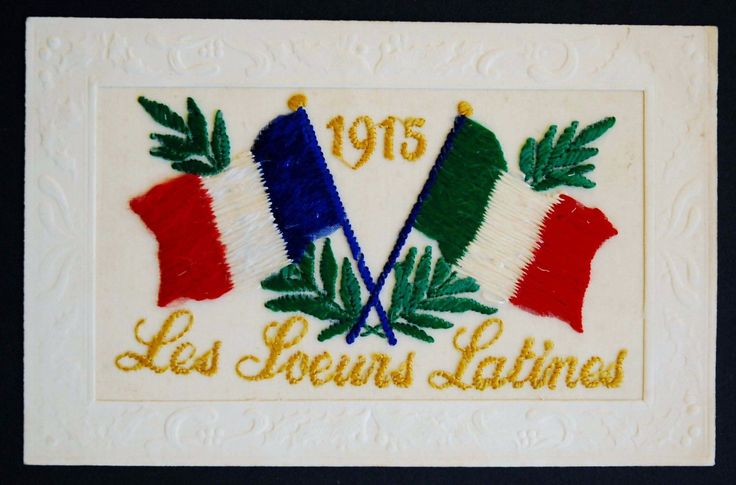 Dated 1915 ww1 silk postcard les soeurs #latines #sisters of italy #france italia,  View more on the LINK: http://www.zeppy.io/product/gb/2/282249840607/