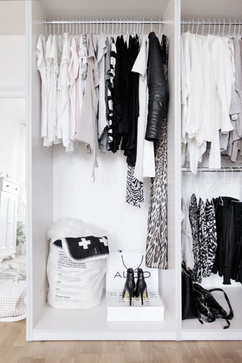 These open shelves with hanger rods will force you to keep your wardrobe organized, since it's essentially part of your bedroom decor. Click through for storage ideas for a bedroom.