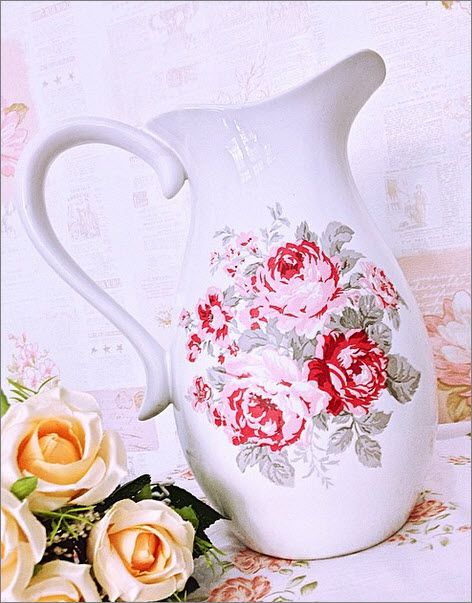 Autumn Rose Jug decoupage on ceramic please check my website for more detail at www.myleatique.wix.com/shabby