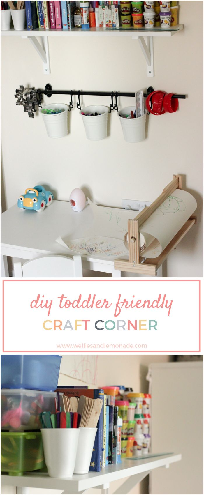 DIY toddler friendly craft corner
