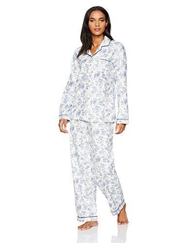 bc4da8c3ba Aria Women s 100 Cotton Flannel Printed Notch Collar Pajama ...