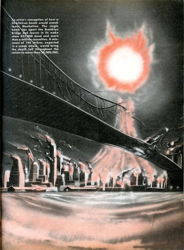 'An artist's conception of how a 50-kilotron (sic) bomb would smash Manhattan.' - January 1953 issue of MR. AMERICA magazine. Artist: Wolff: