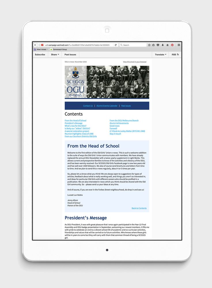 A Campaign Monitor template design for SCEGGs e-news. Masthead design, brand colours, clean fonts and well-spaced sections connected with hyperlinks and anchors made the content-heavy newsletter easy to read for all generations.