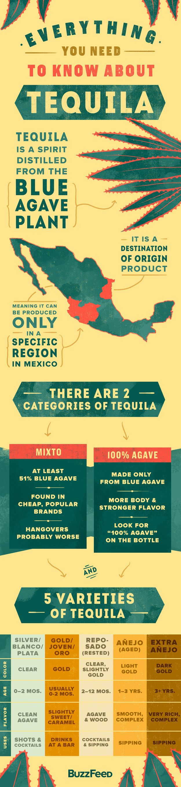 Got all that? Here's a tequila cheat sheet to pin for later: